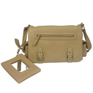 Aurielle MultiCompartment Tan Leather Shoulder Bag